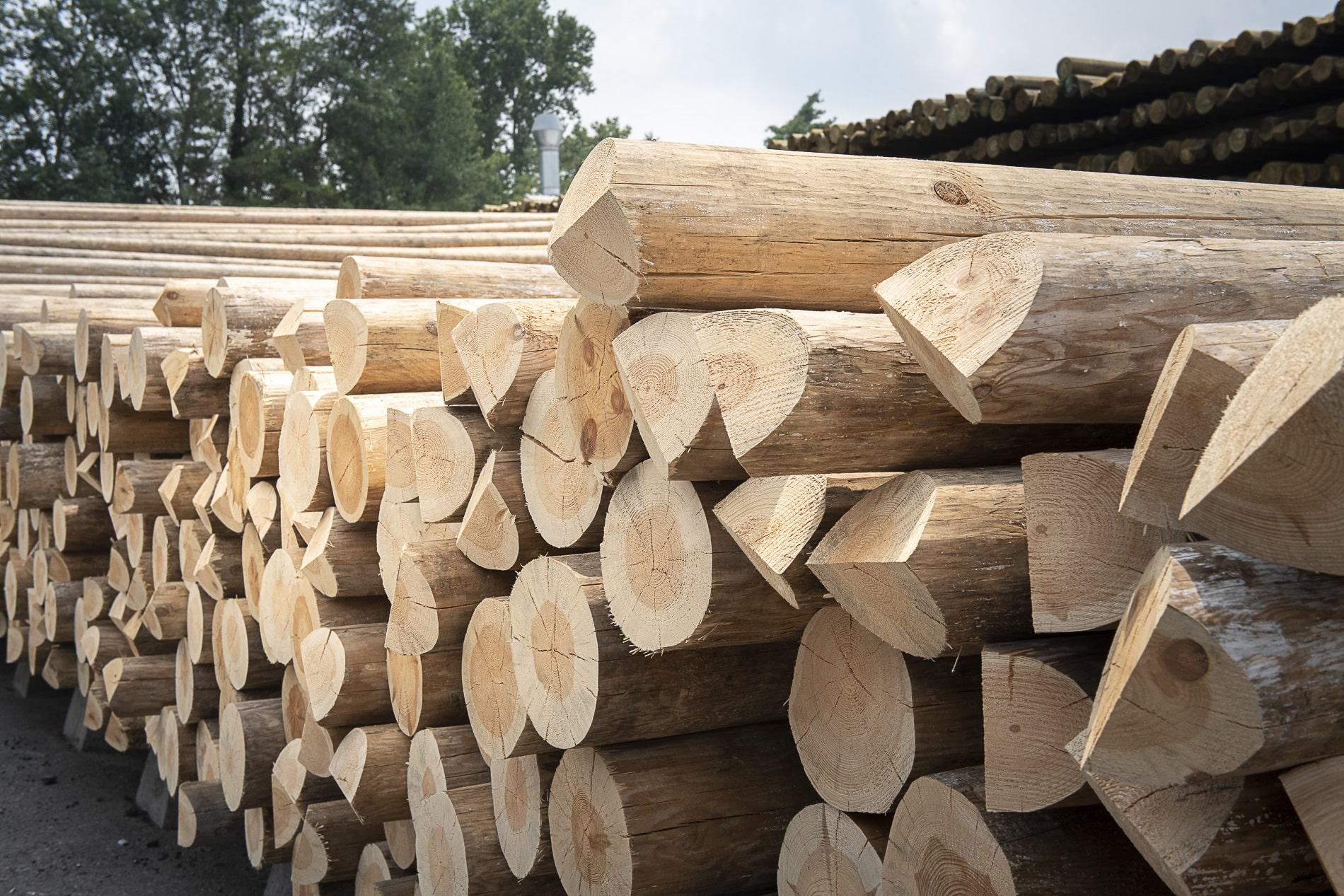 Pali di legno per linee aeree e telefoniche
